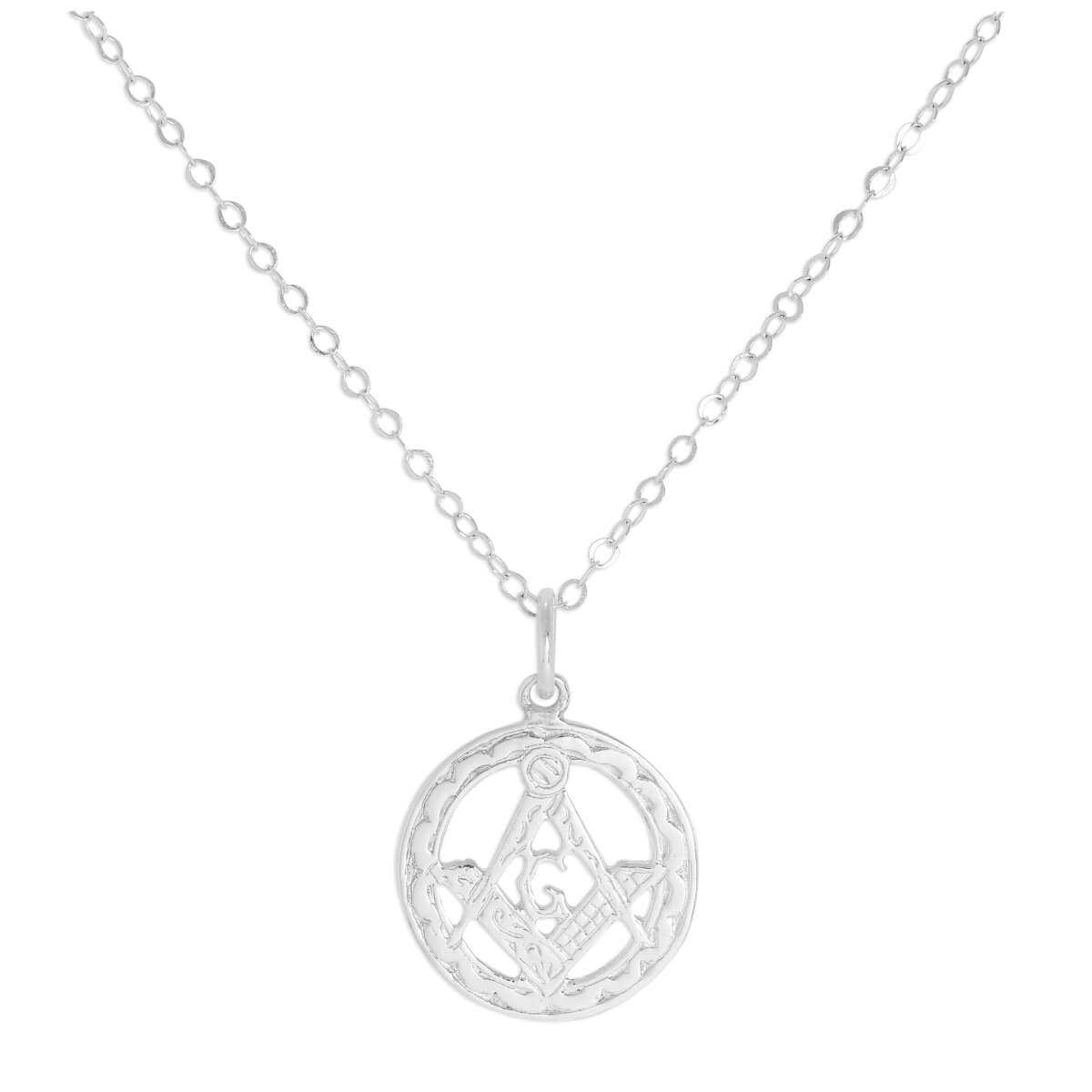 Sterling Silver Masonic Emblem Pendant on Chain 16 - 22 Inches