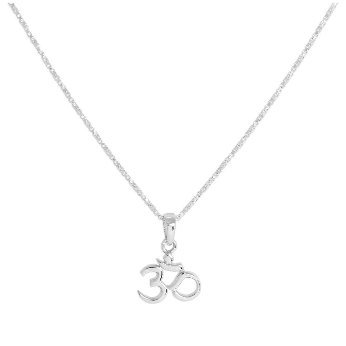 Sterling Silver Om Pendant Necklace 16 - 24 Inches