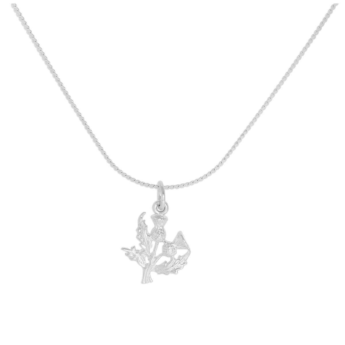 Sterling Silver Double Thistles Pendant Necklace 16 - 32 Inches