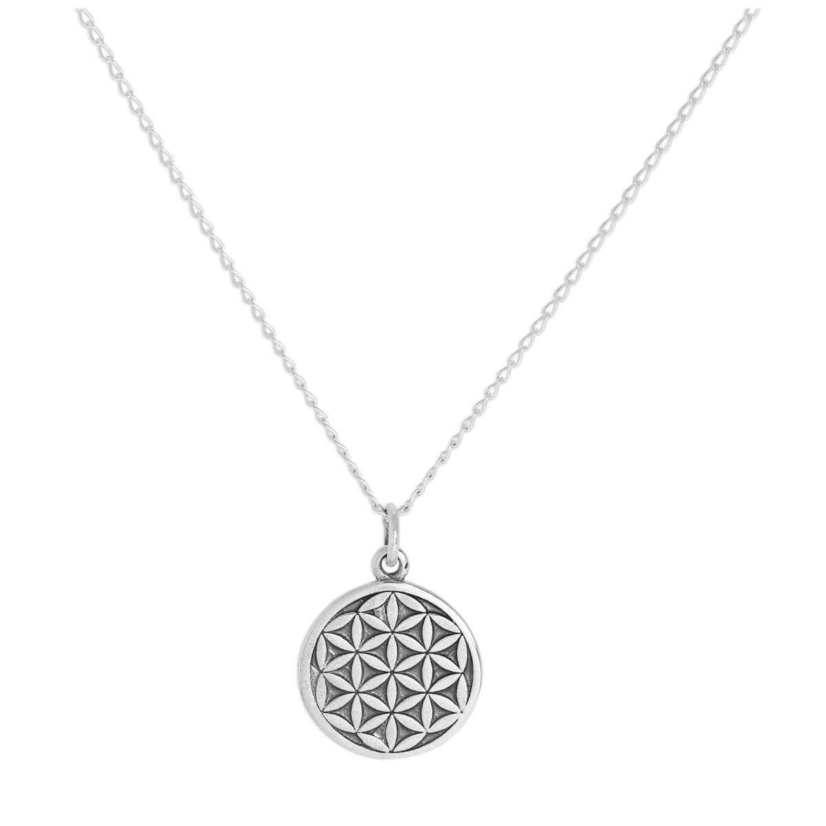 Sterling Silver Flower of Life Pendant on Chain 14 - 32 Inches