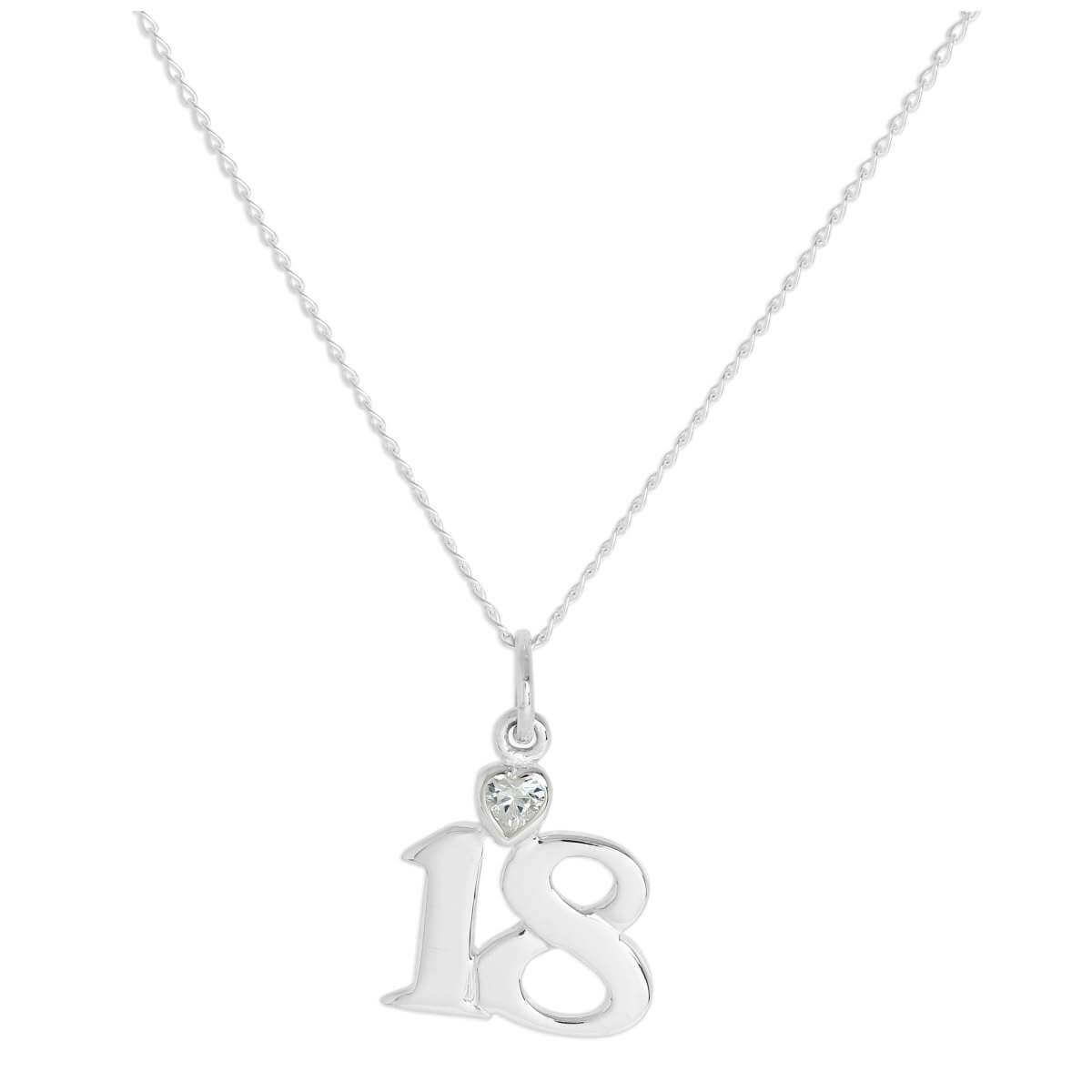 Sterling Silver 18 Pendant with Clear CZ Crystal Heart on Chain 16 - 24 Inches