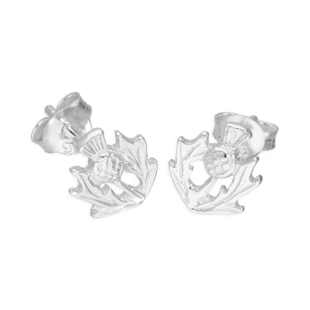 Sterling Silver Small Thistle Stud Earrings