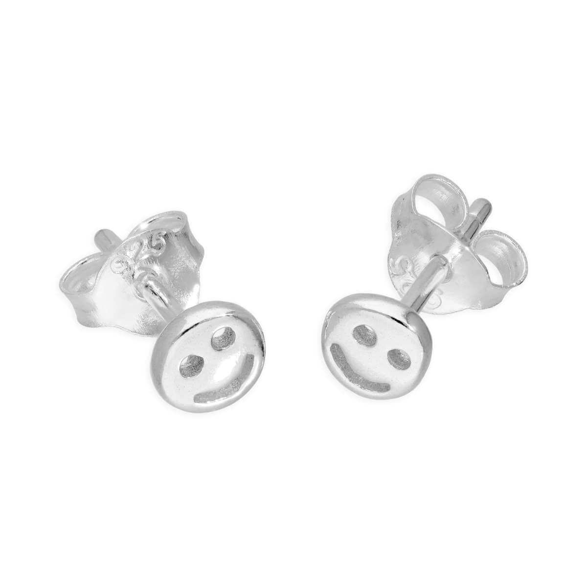 Sterling Silver Small Round Smiley Face Stud Earrings