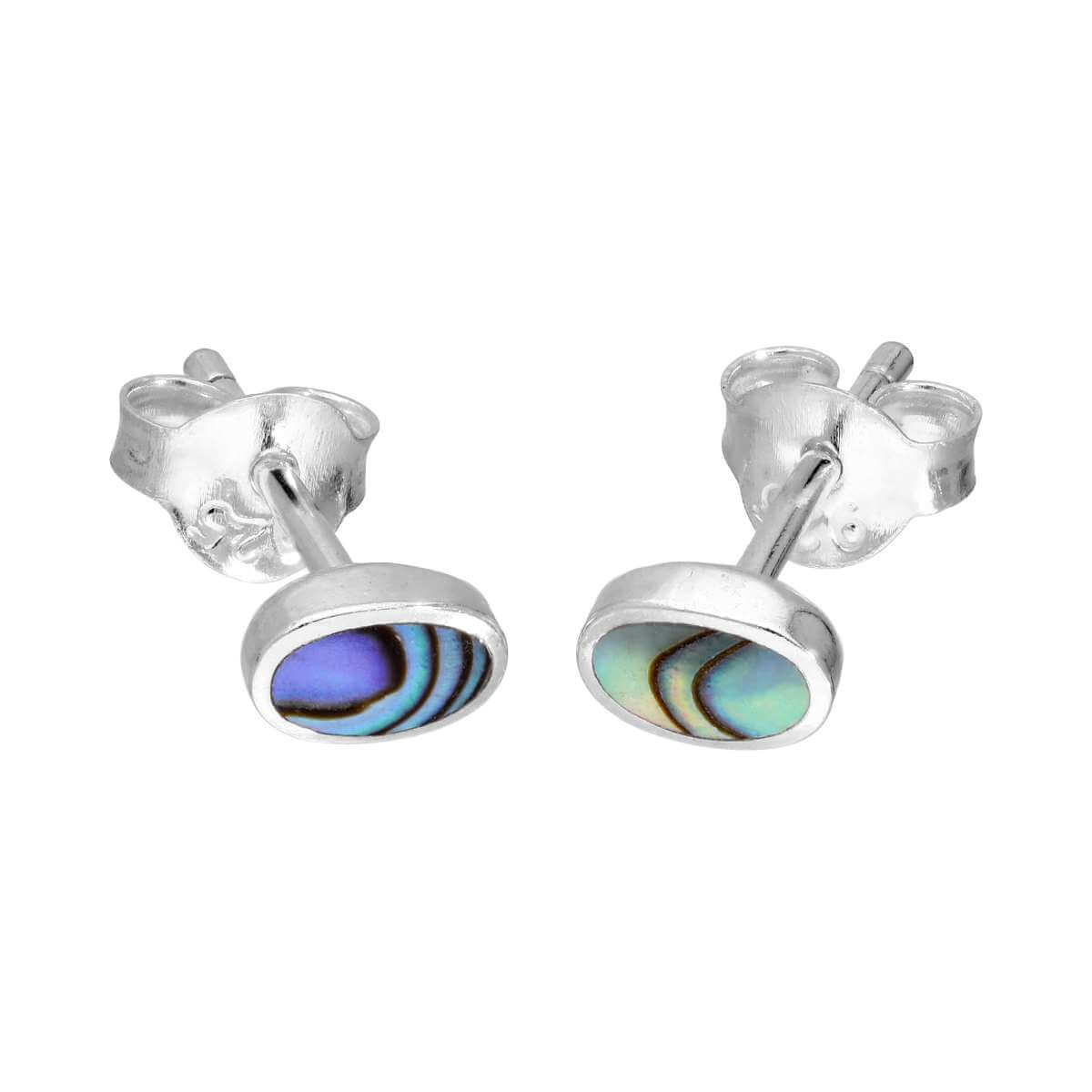Sterling Silver & 6mm Oval Abalone Stud Earrings