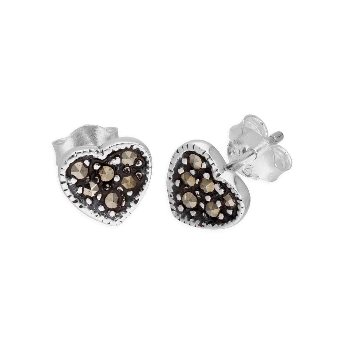 Sterling Silver & Marcasite Heart Stud Earrings