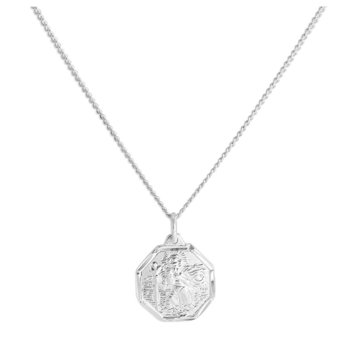 Sterling Silver Diamond Cut Octagonal St Christopher Necklace 16 - 24 Inches