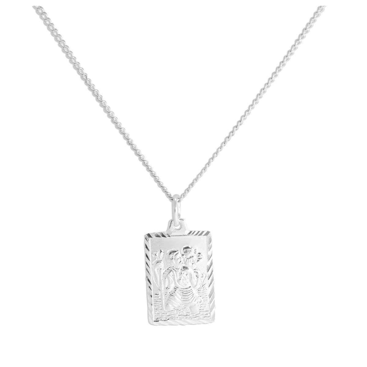 Sterling Silver Diamond Cut Rectangular St Christopher Necklace 16 - 24 Inches