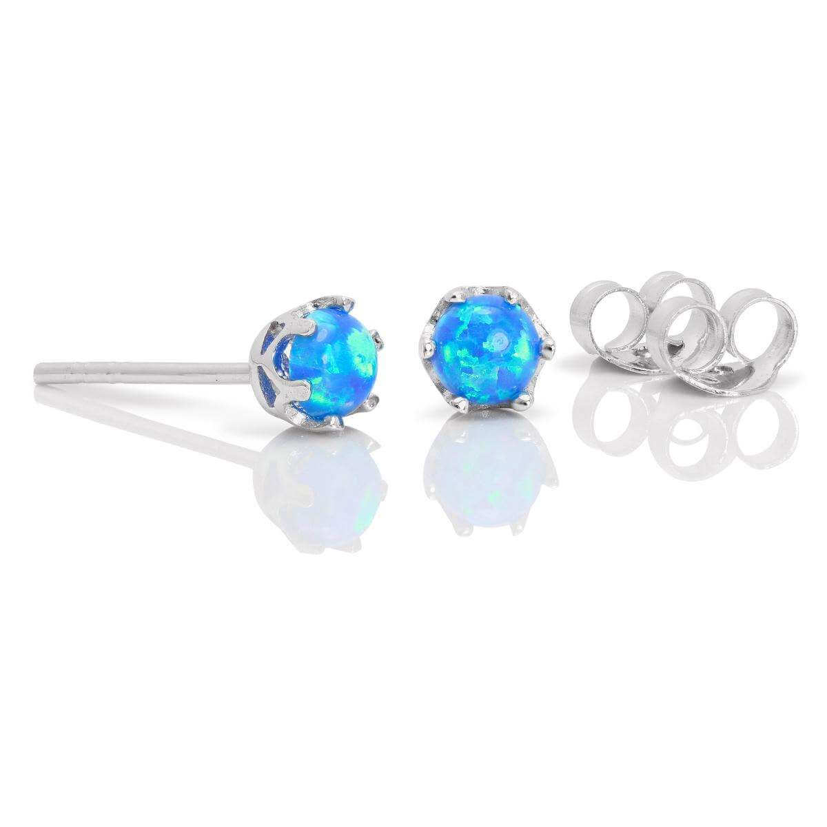 Sterling Silver & 4mm Round Blue Opal Gemstone Stud Earrings