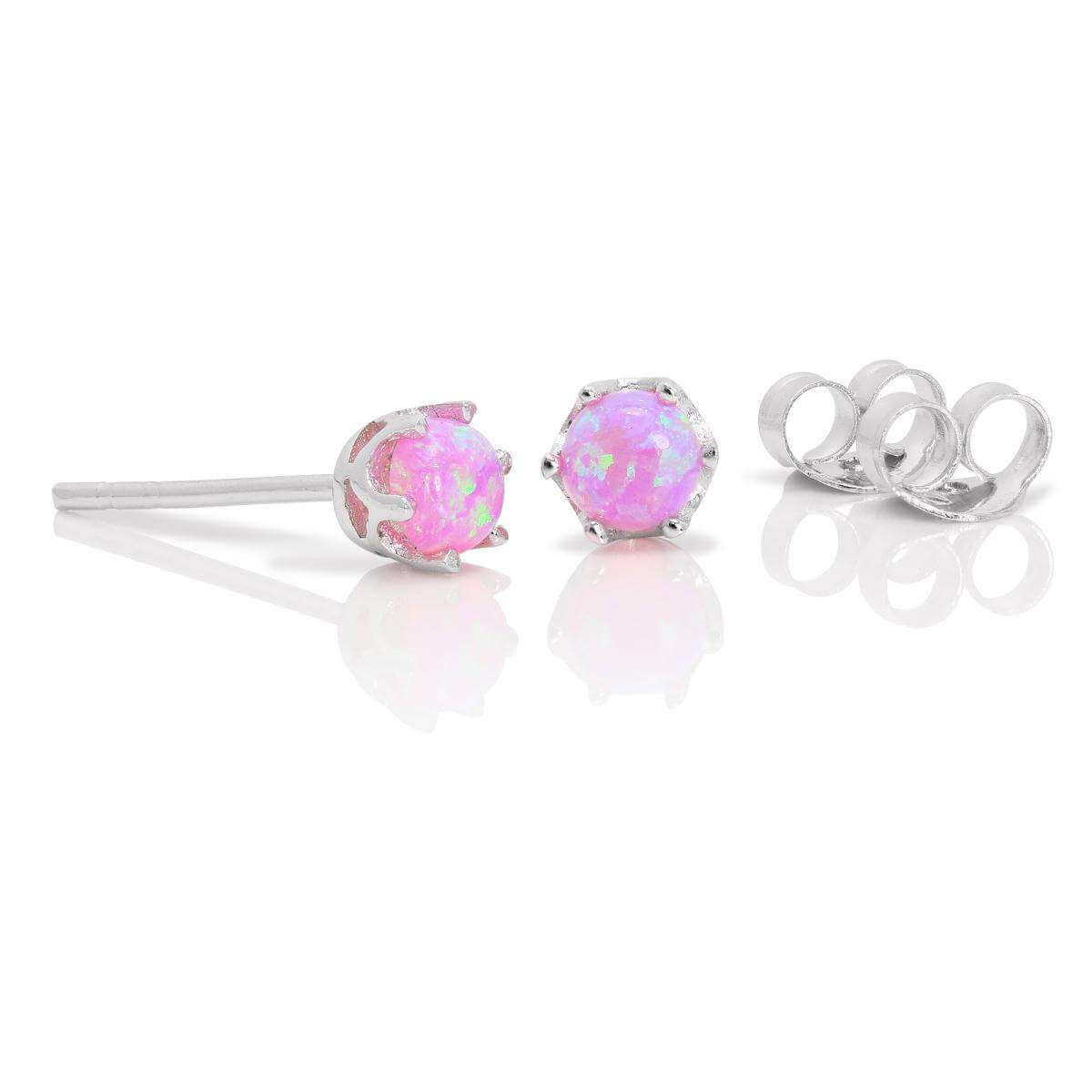 Sterling Silver & 4mm Round Pink Opal Gemstone Stud Earrings