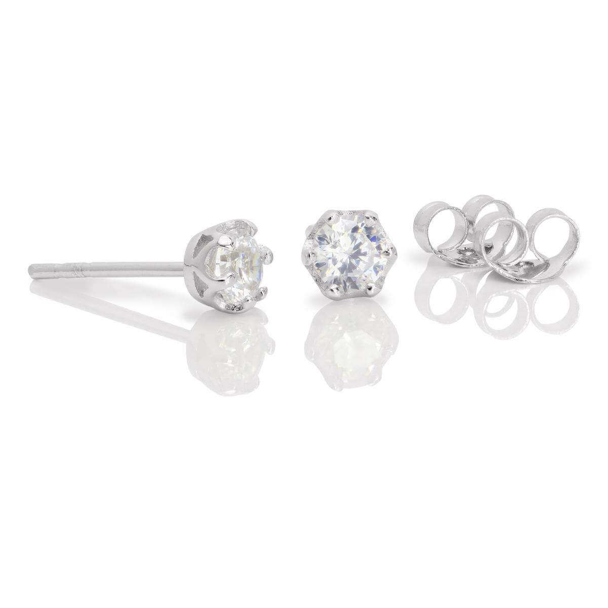 Sterling Silver & 4mm Round White Topaz Gemstone Stud Earrings