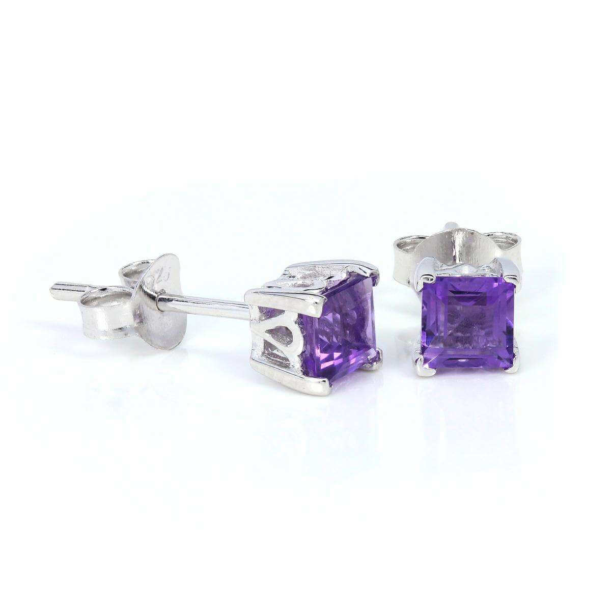 Sterling Silver & 4mm Square Amethyst Gemstone Stud Earrings