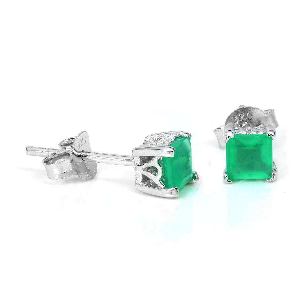 Sterling Silver & 4mm Square Green Agate Gemstone Stud Earrings