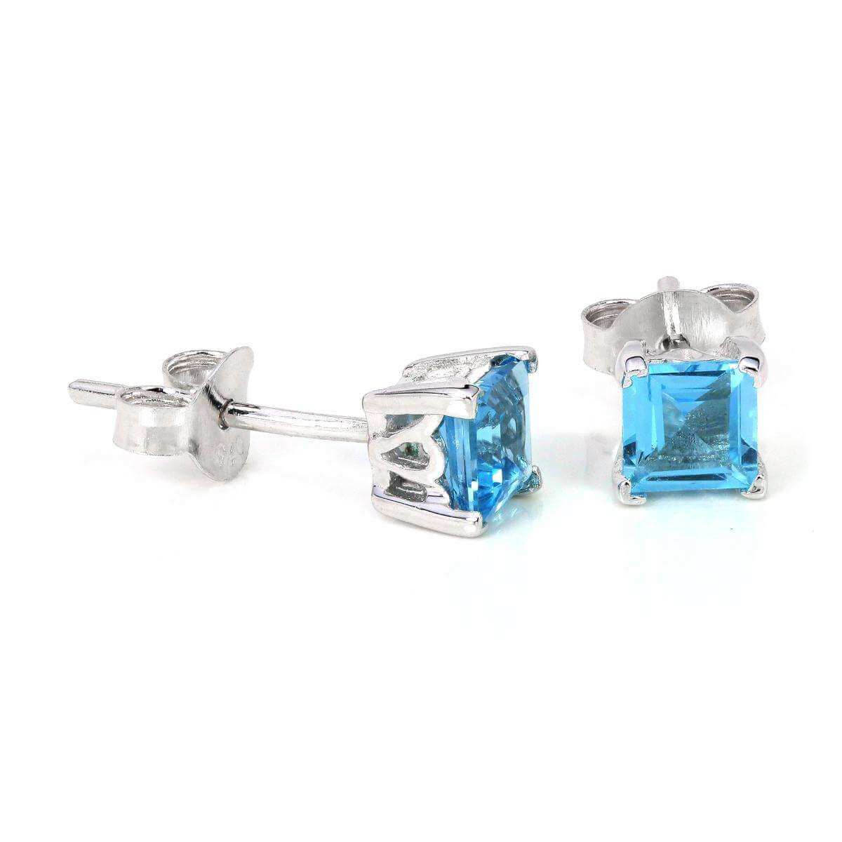 Sterling Silver & 4mm Square Sky Blue Topaz Gemstone Stud Earrings
