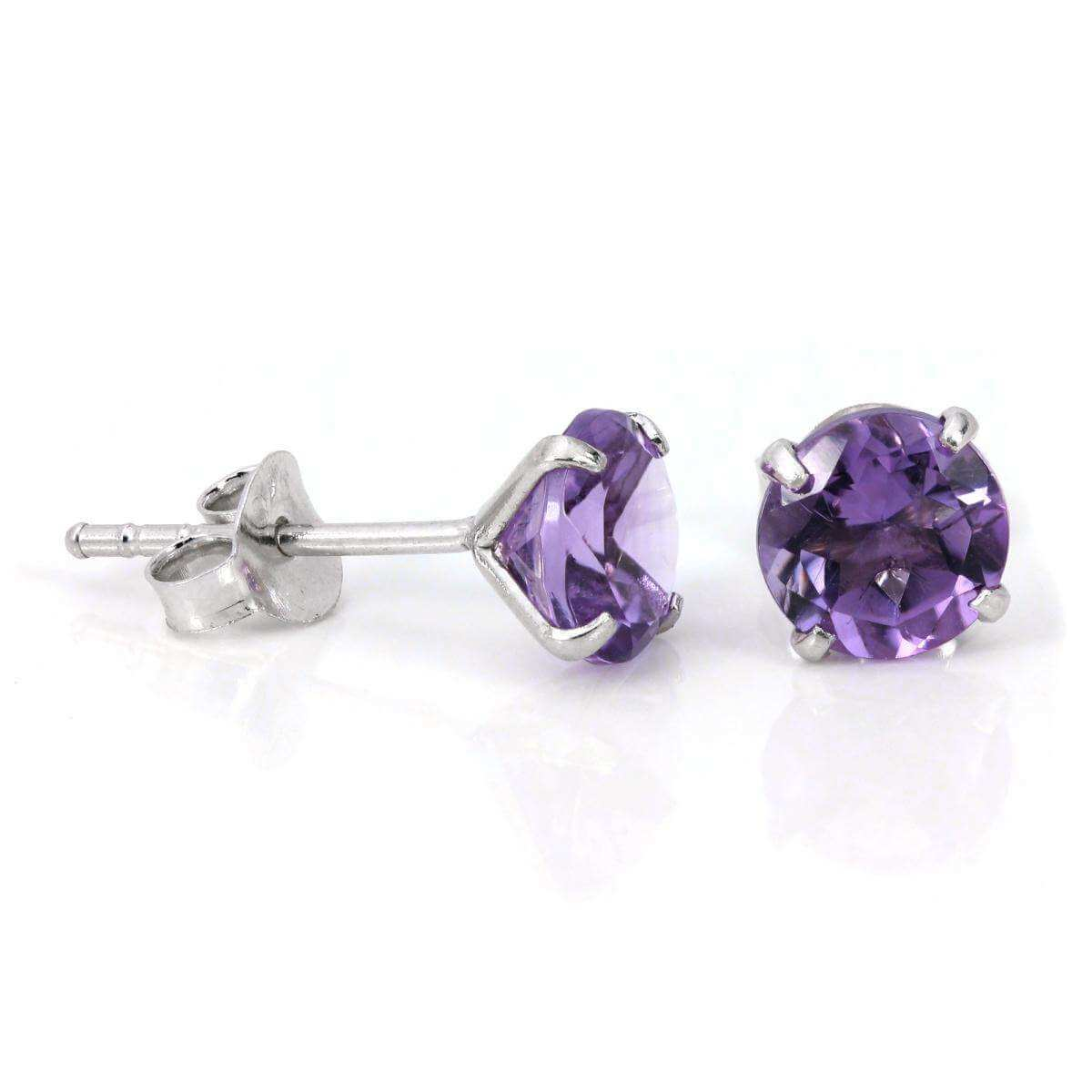 Sterling Silver & 6mm Round 4 Prong Set Amethyst Gemstone Stud Earrings