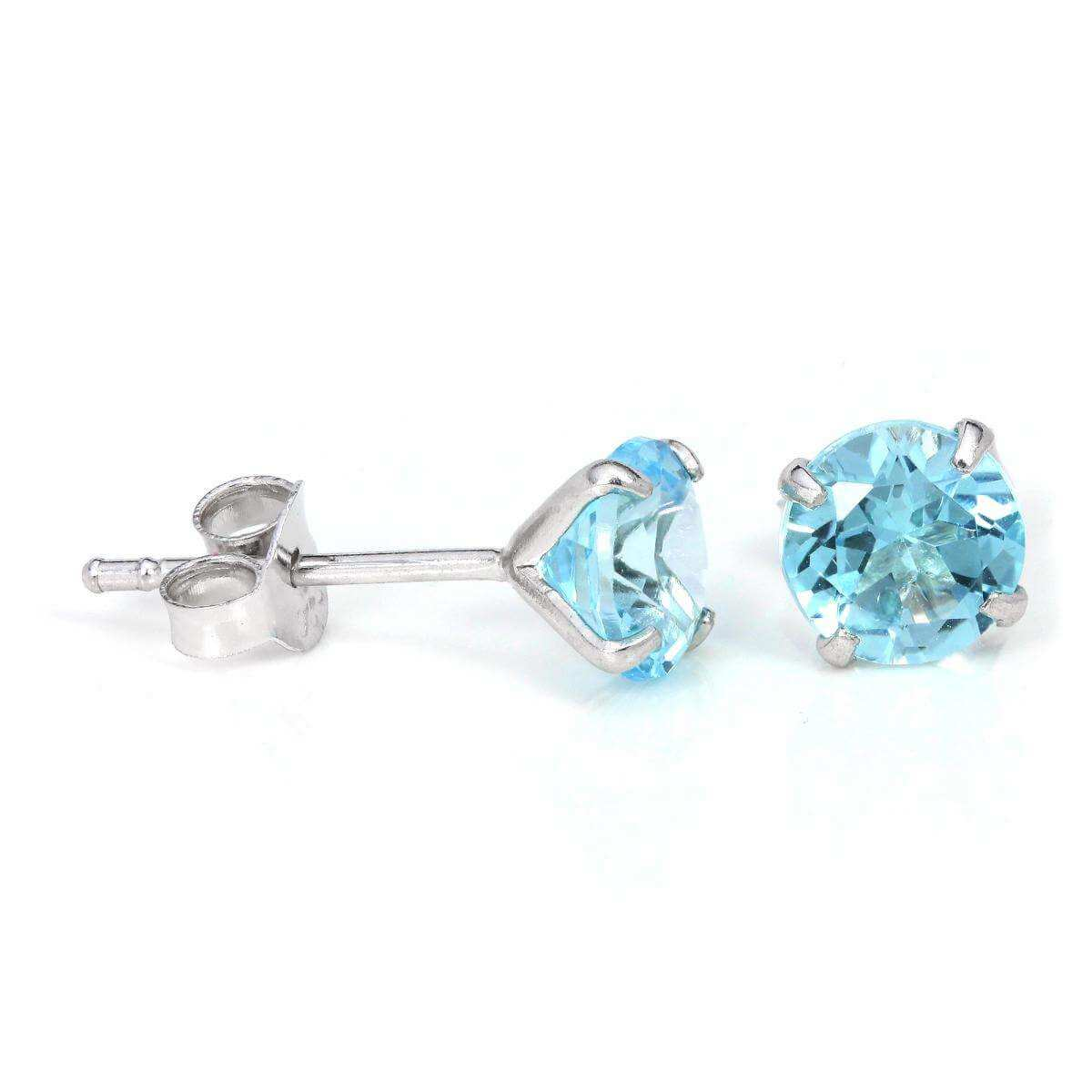 Sterling Silver & 6mm Round 4 Prong Set Sky Blue Topaz Gemstone Stud Earrings