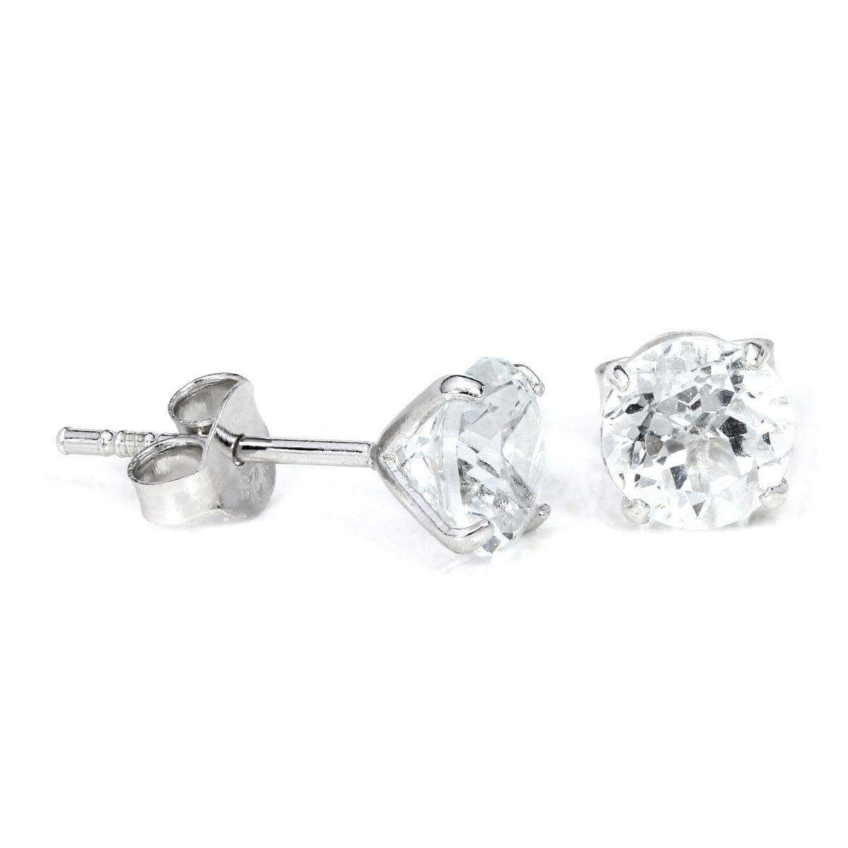 Sterling Silver & 6mm Round 4 Prong Set White Topaz Gemstone Stud Earrings