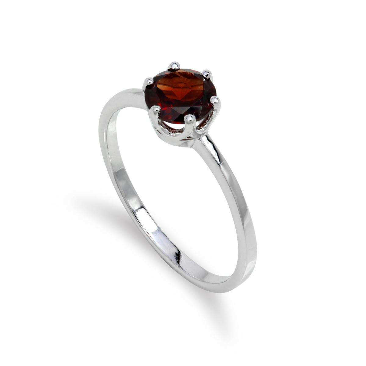 Sterling Silver & 6mm Round Garnet Gemstone Ring Size I - U