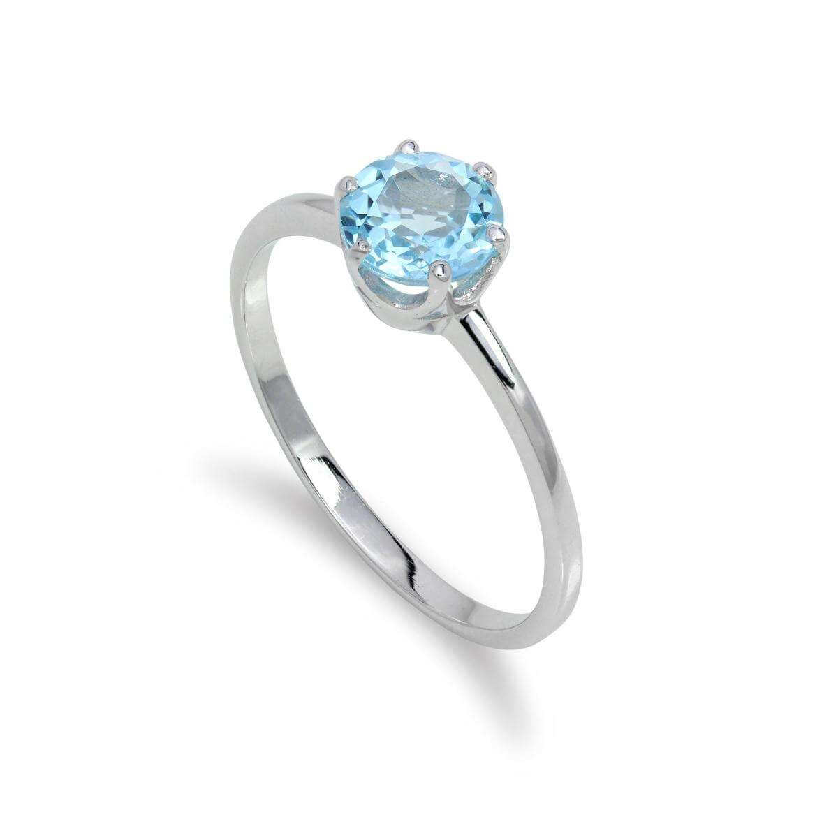 Sterling Silver & 6mm Round Sky Blue Topaz Gemstone Ring Size I - U