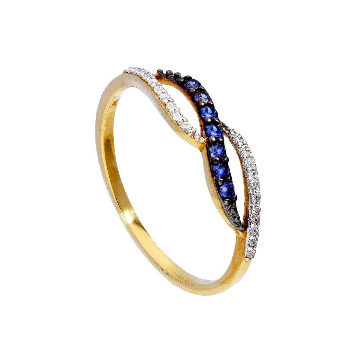 9ct Gold & Sapphire Infinity Swirl Ring w Clear CZ Crystals Sizes I - U