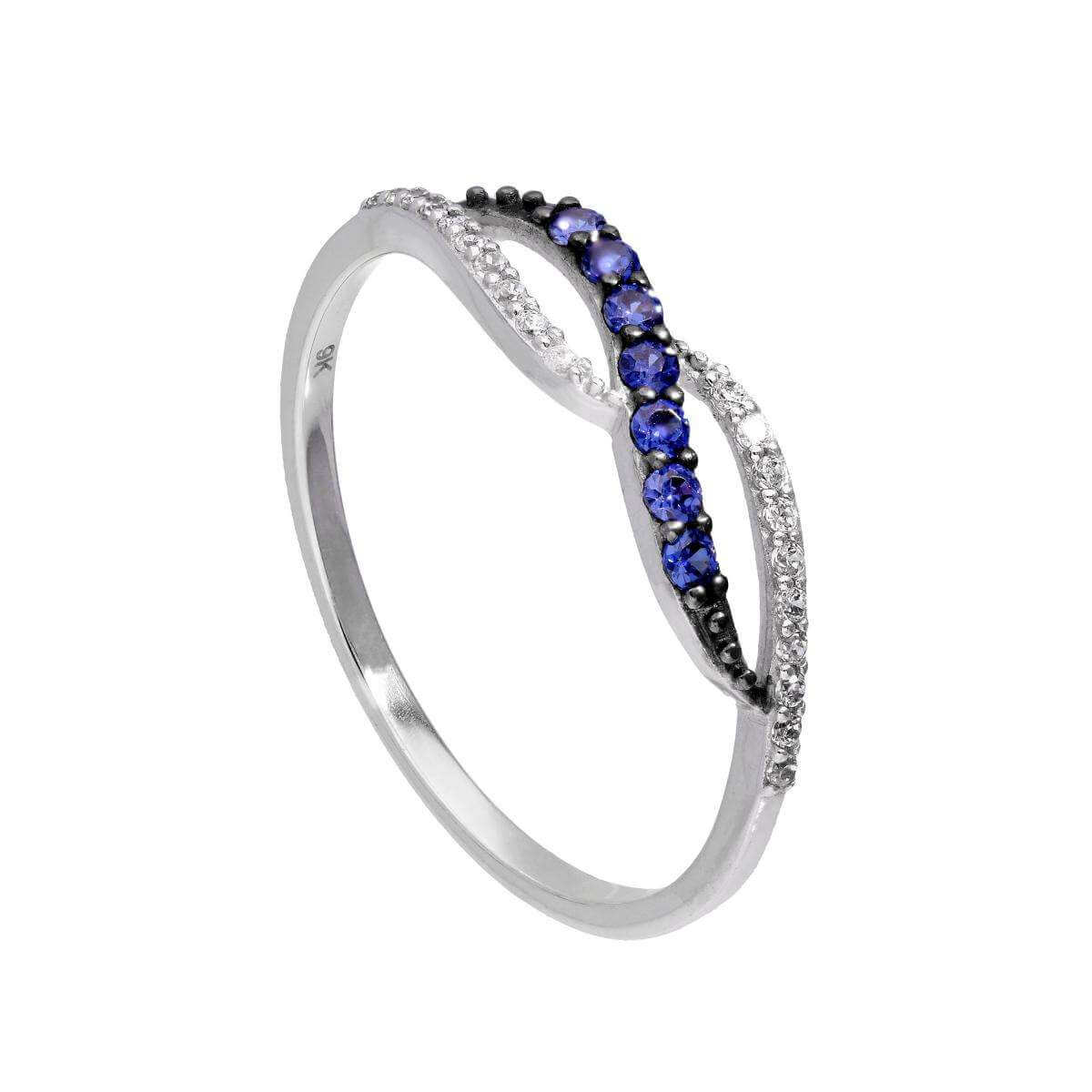 9ct White Gold & Sapphire Infinity Swirl Ring w Clear CZ Crystals I - U