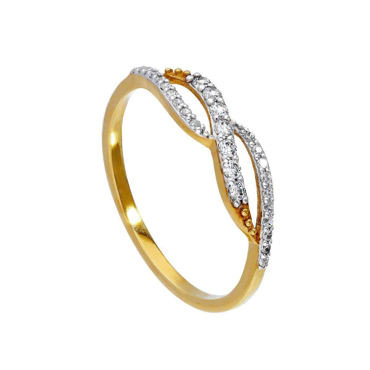 9ct Gold & Clear CZ Crystal Infinity Swirl Ring Sizes I - U