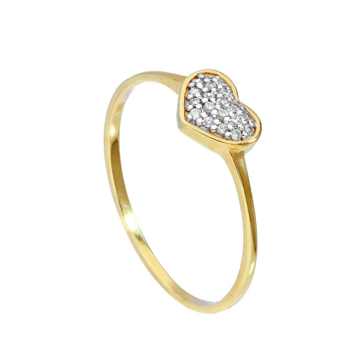 9ct Gold & Clear CZ Crystal Heart Ring Sizes I - U