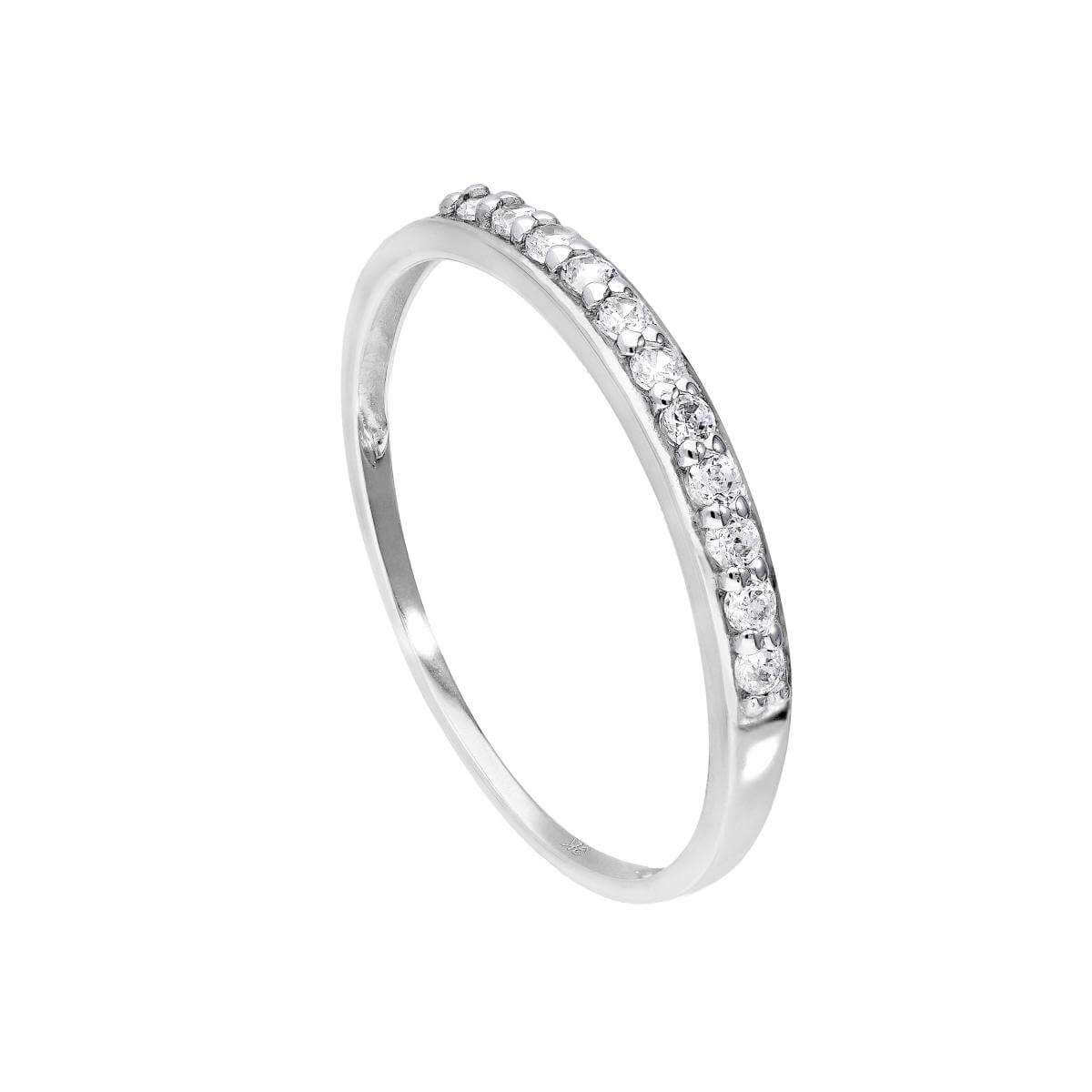 9ct White Gold & Clear CZ Crystal Ring Sizes I - U
