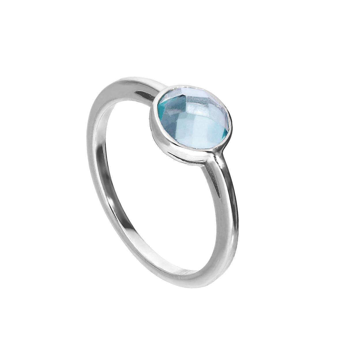 Sterling Silver & Genuine Sky Blue Topaz Ring w Circular Setting Sizes I - U