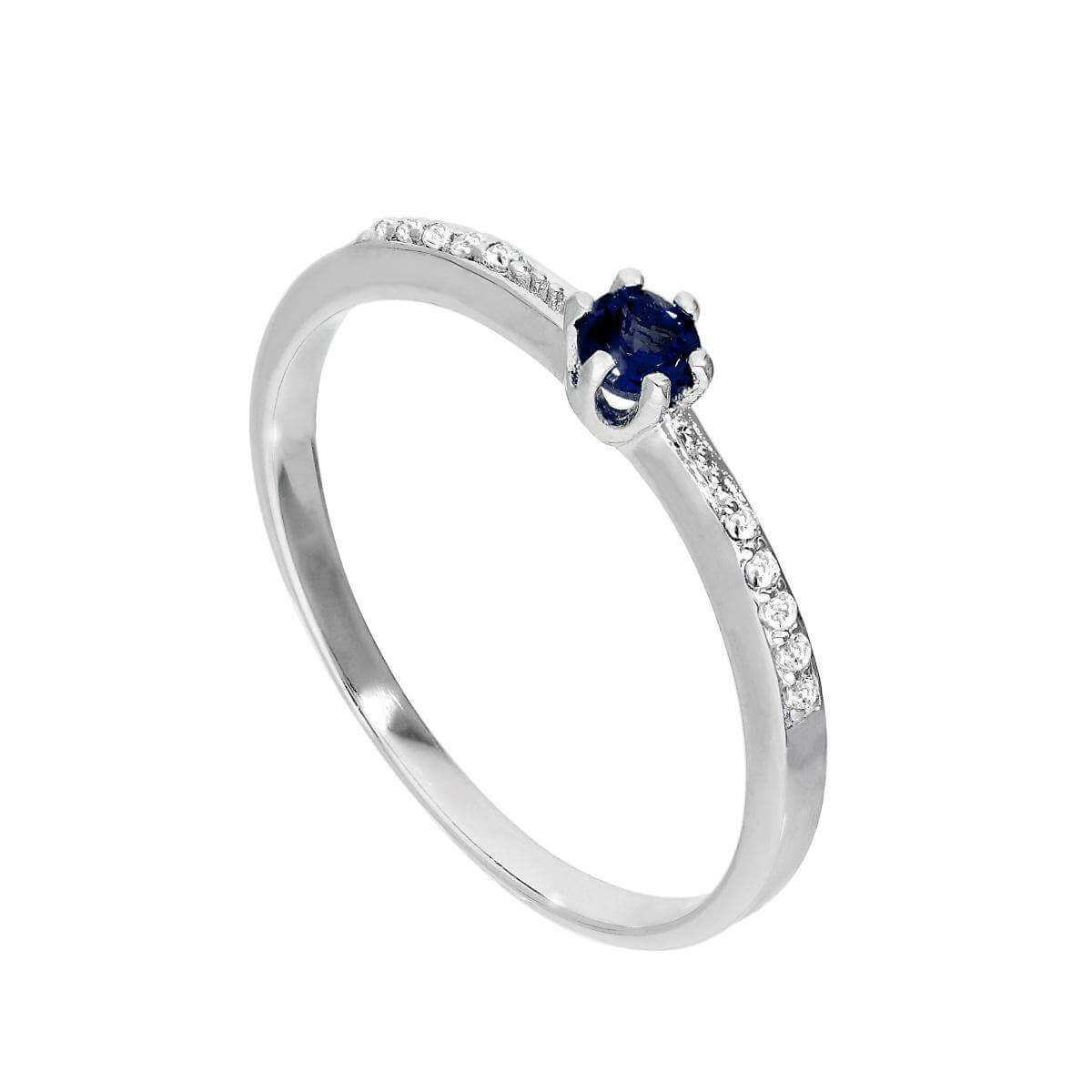 Sterling Silver & Genuine Sapphire Ring w Clear CZ Crystals on Shoulders I - U