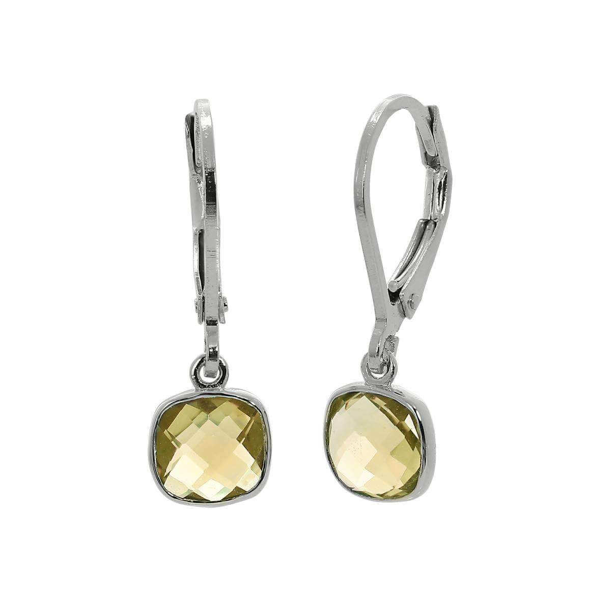 Sterling Silver & Genuine Lemon Quartz Square Leverback Earrings