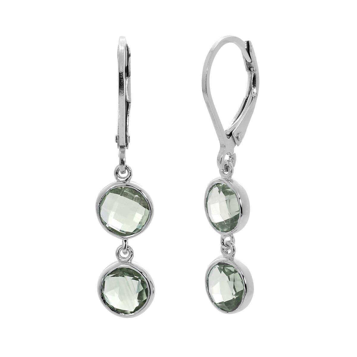 Sterling Silver & Double Drop Round Genuine Green Amethyst Leverback Earrings