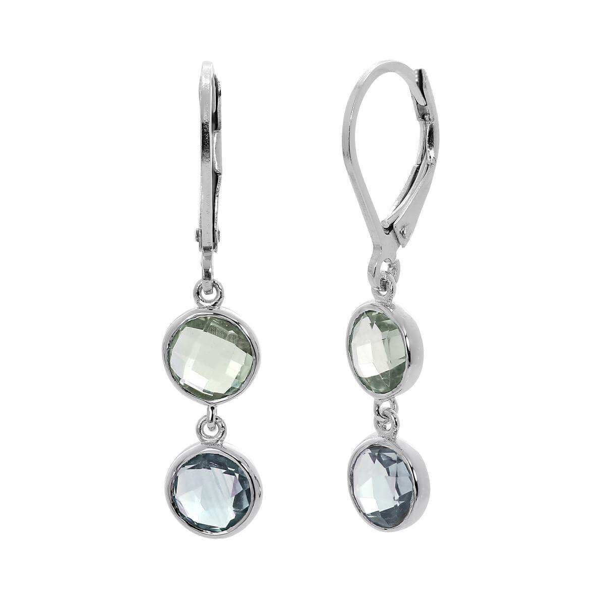 Sterling Silver Leverback Earrings w Genuine Green Amethyst & Sky Blue Topaz