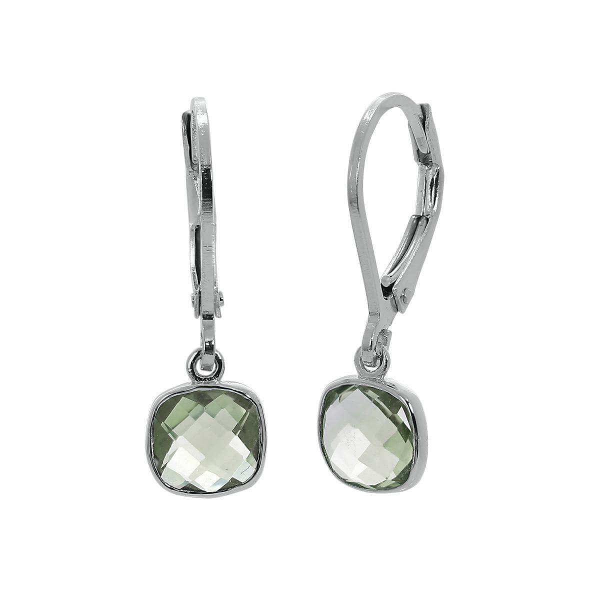 Sterling Silver & Genuine Green Amethyst Square Leverback Earrings