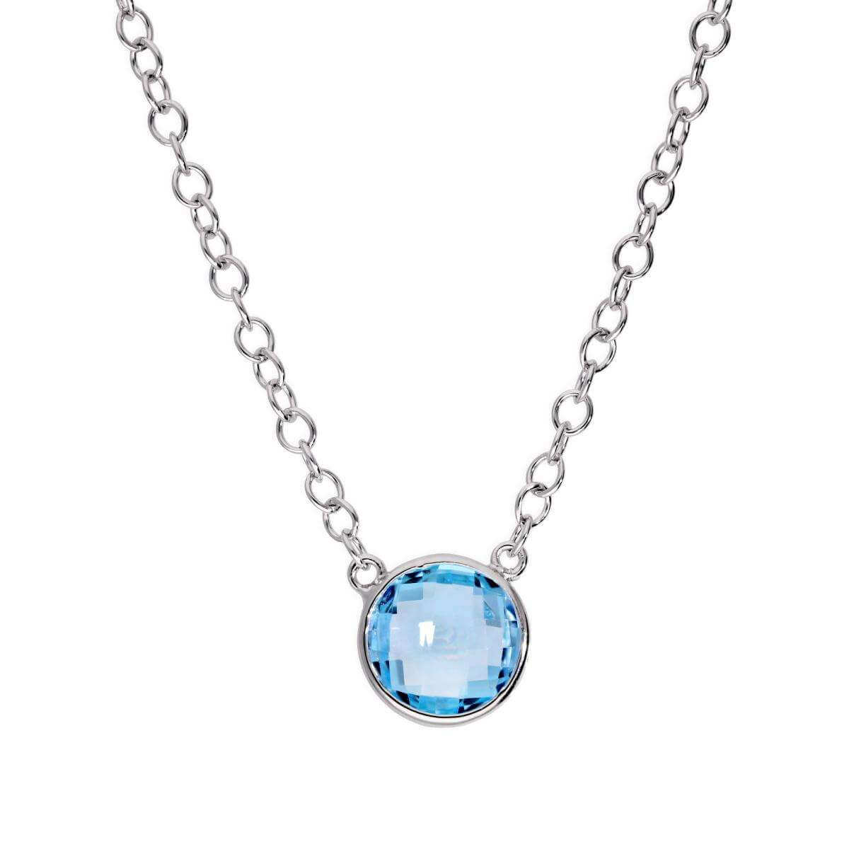 Sterling Silver & Sky Blue Round Topaz Necklace - 18 inch with 2 inch Extender
