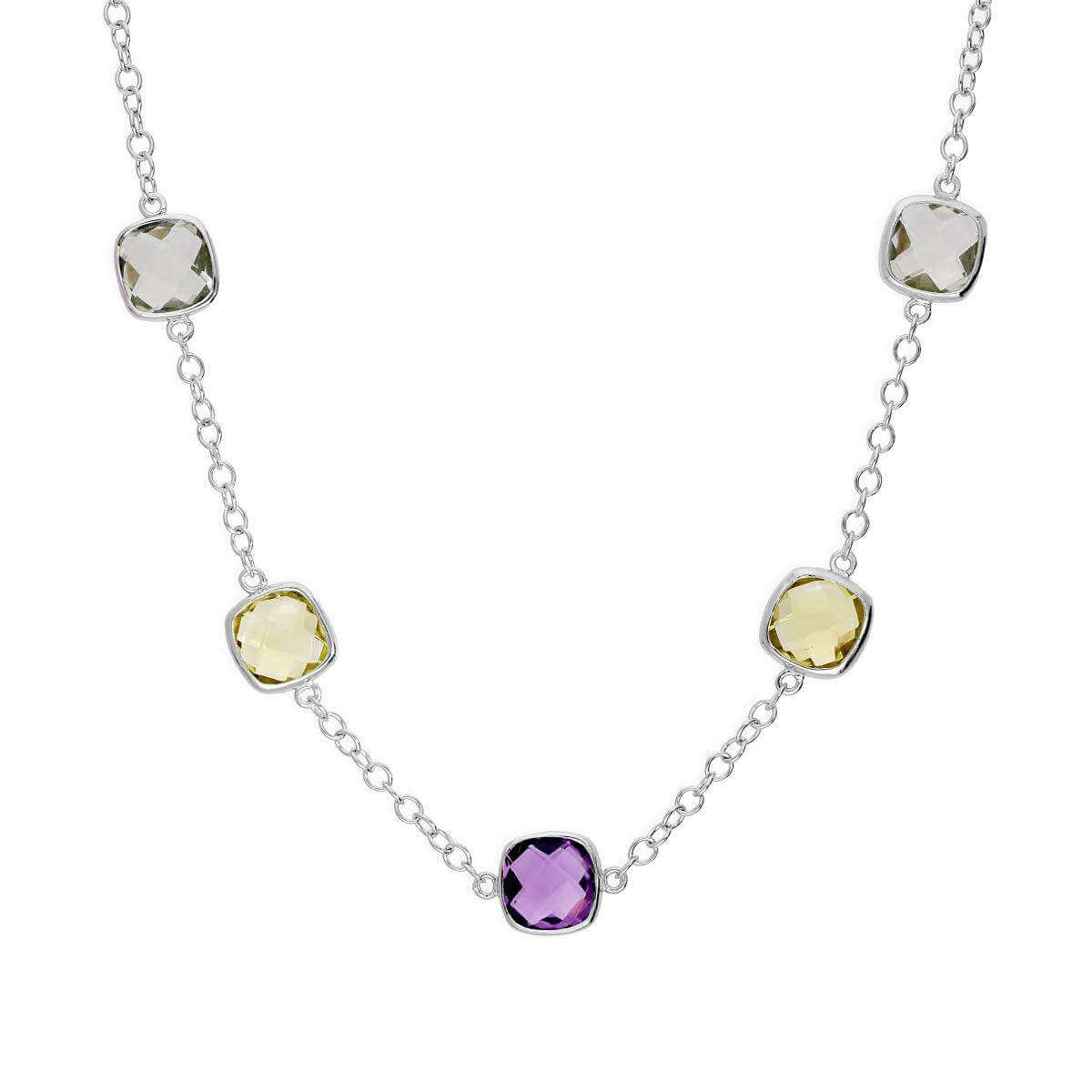 Sterling Silver 18 Inch Necklace w Round Genuine Amethyst & Green Amethyst