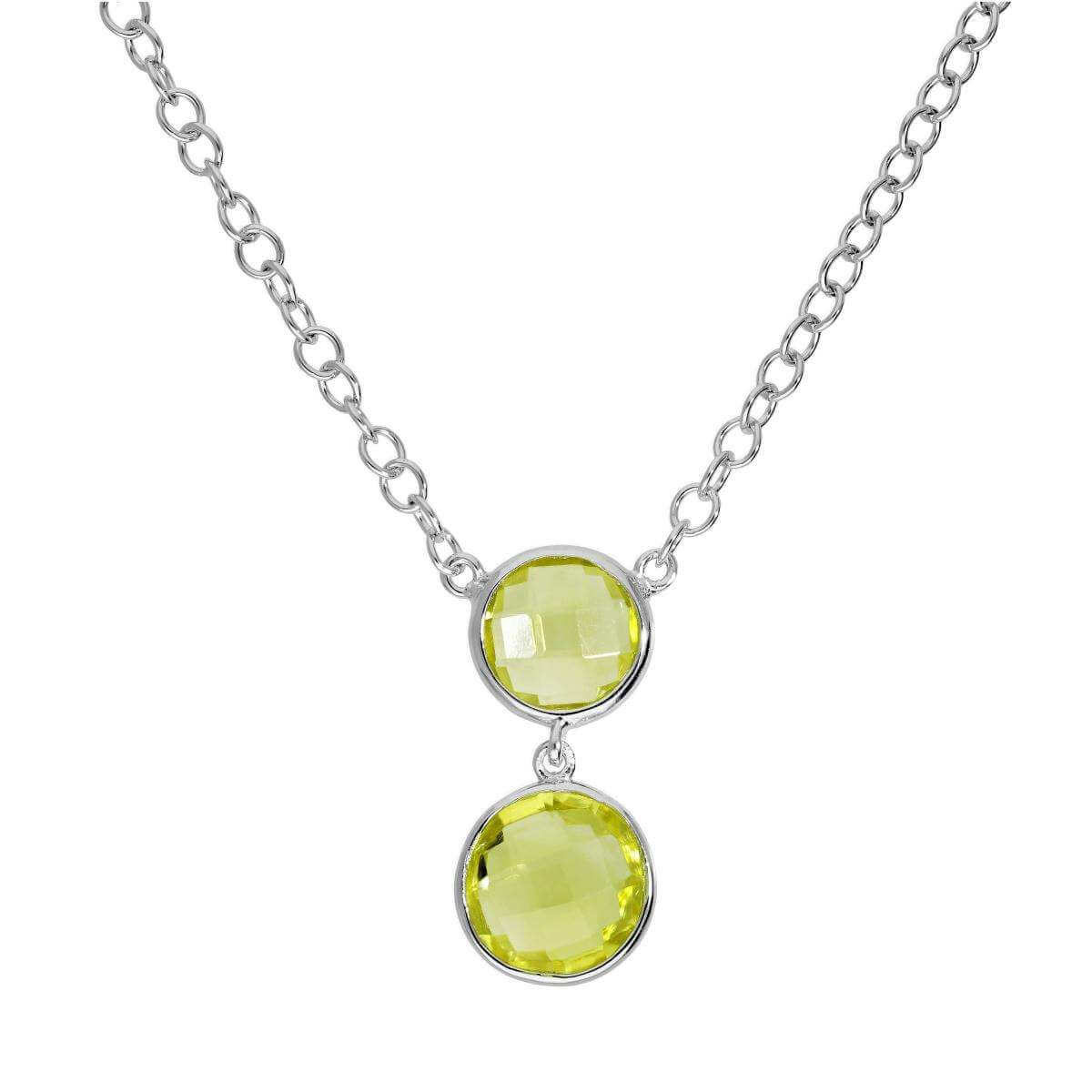 Sterling Silver 18 Inch Necklace w Double Round Genuine Green Amethyst