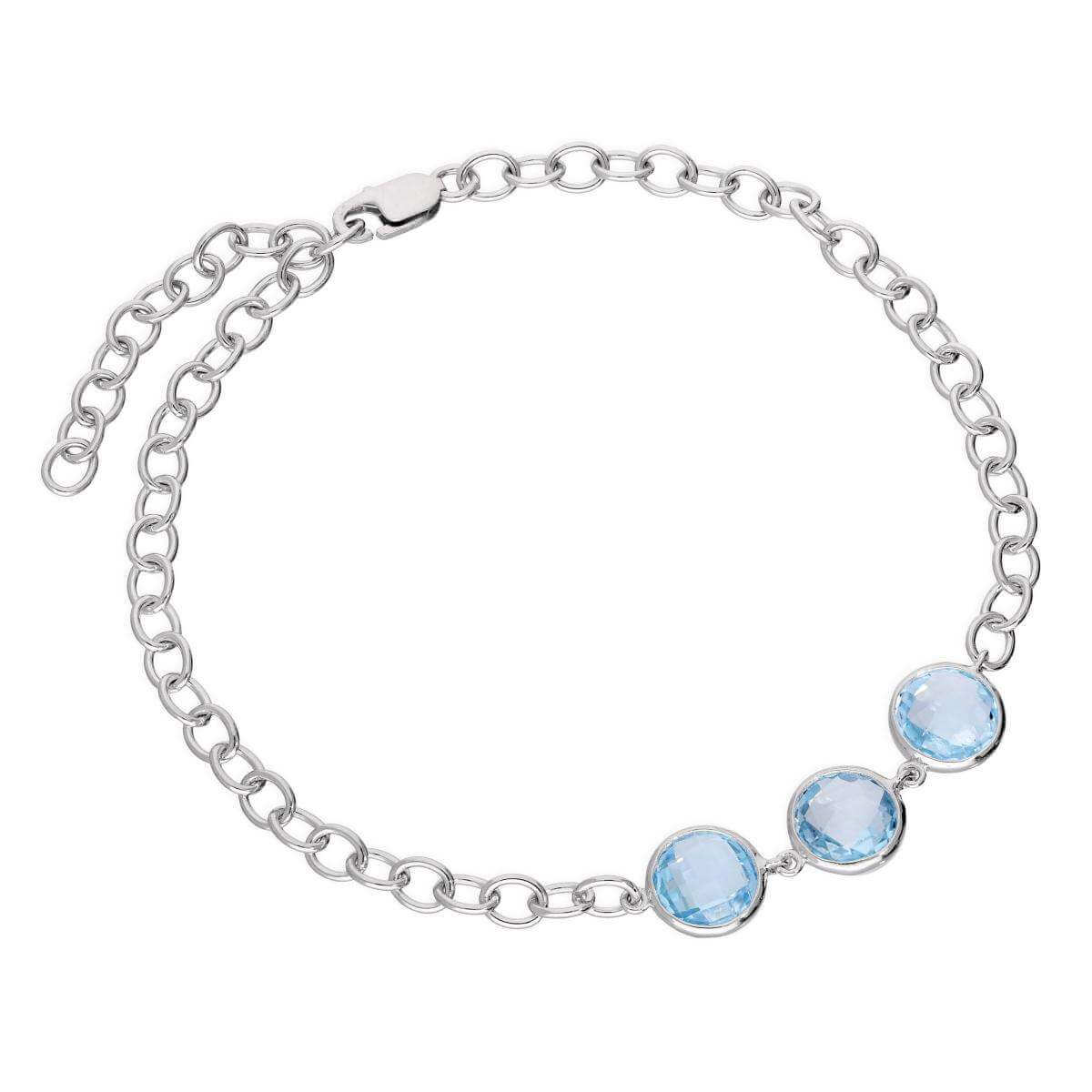 Sterling Silver Round Genuine Sky Blue Topaz 7