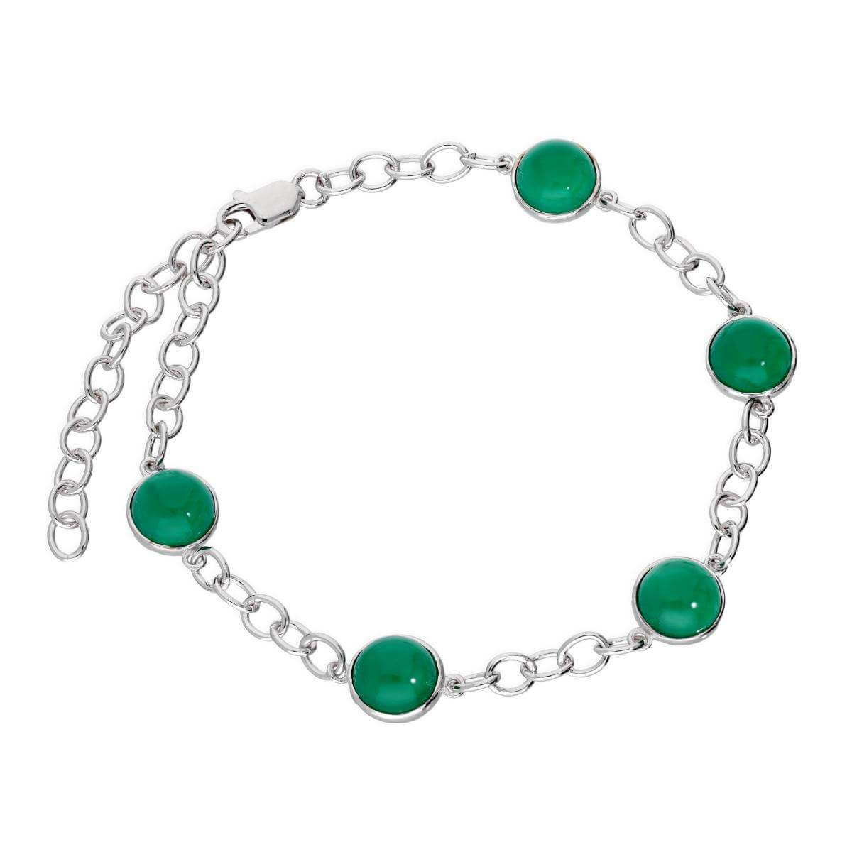 Sterling Silver Round Genuine Green Agate 7.5 - 9.5 Inch Bracelet