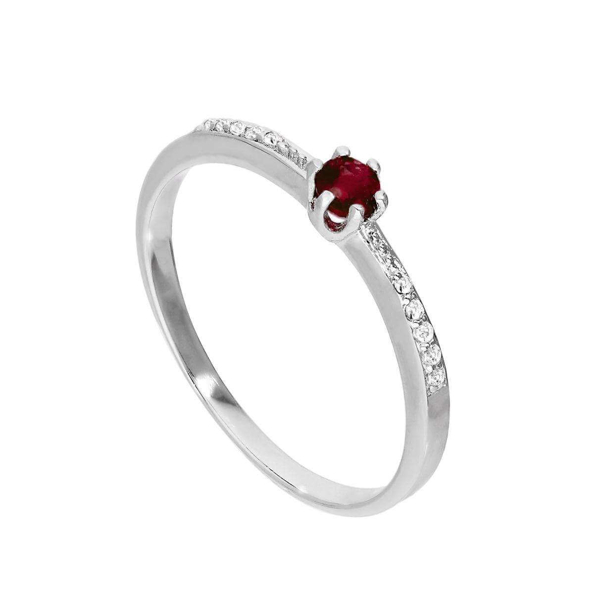 Sterling Silver Genuine Garnet Gemstone & CZ Crystal Solitaire Ring Sizes K - U