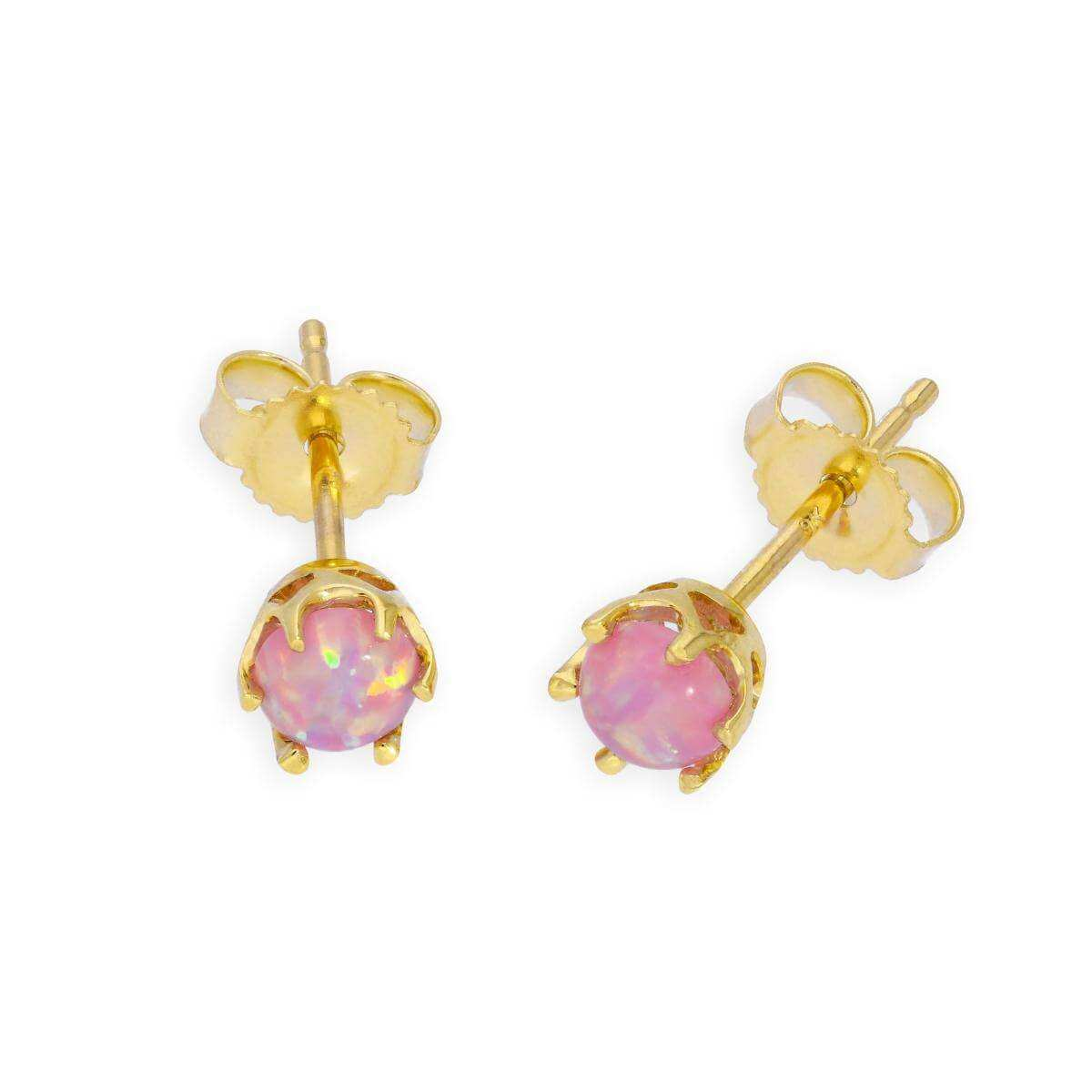 9ct Gold & Pink Opal Genuine Gemstone Stud Earrings