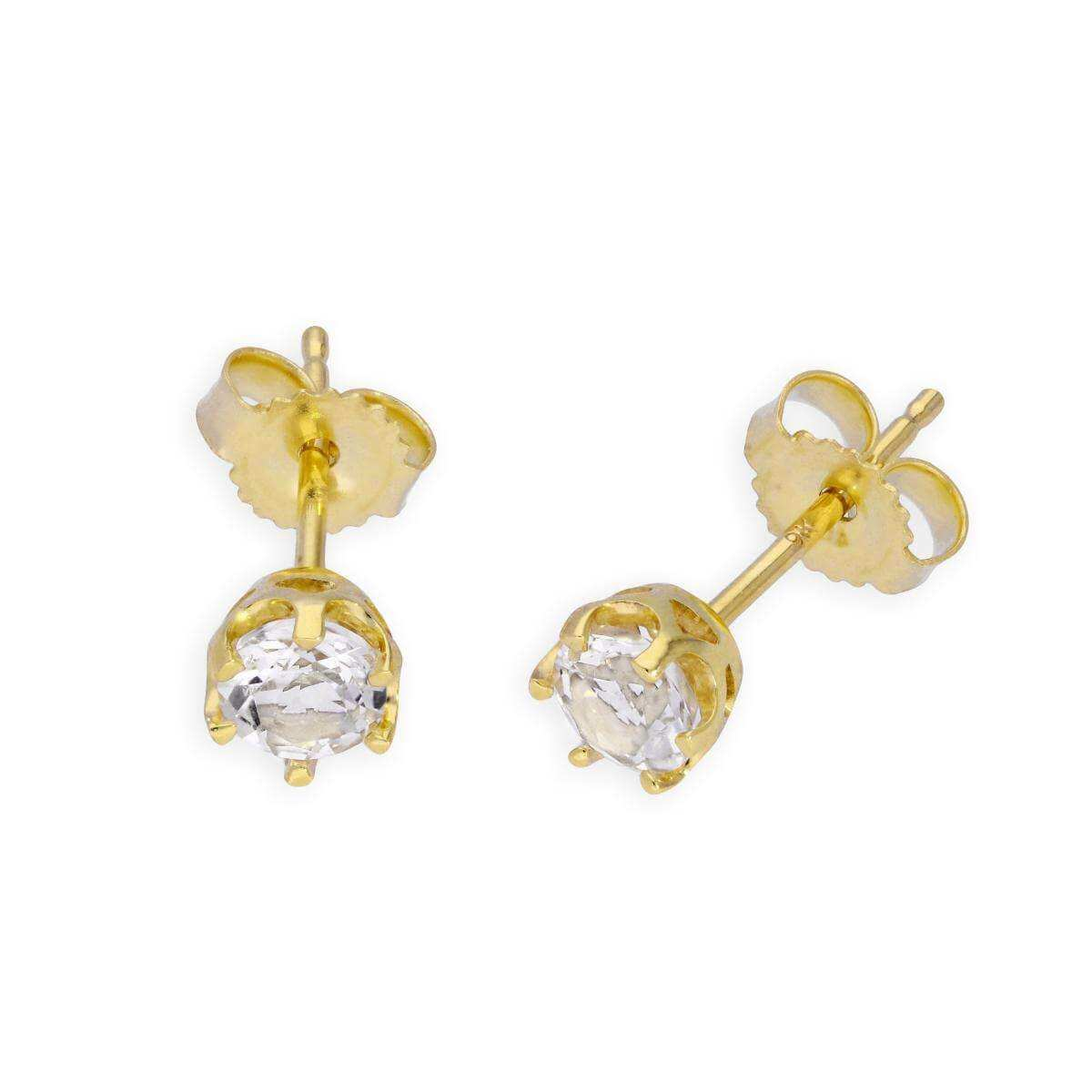 9ct Gold & White Topaz Genuine Gemstone Stud Earrings