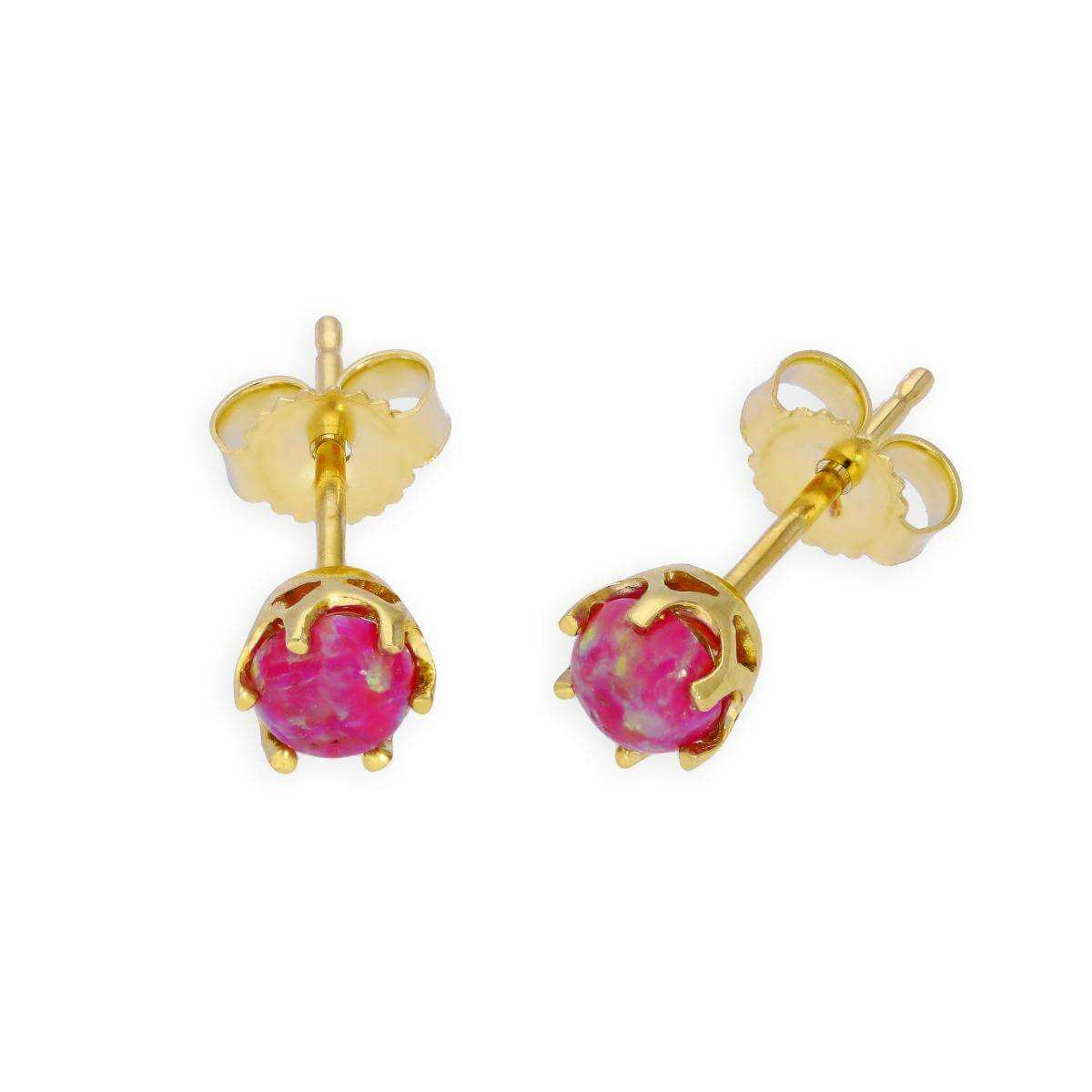 9ct Gold & Violet Opal Genuine Gemstone Stud Earrings