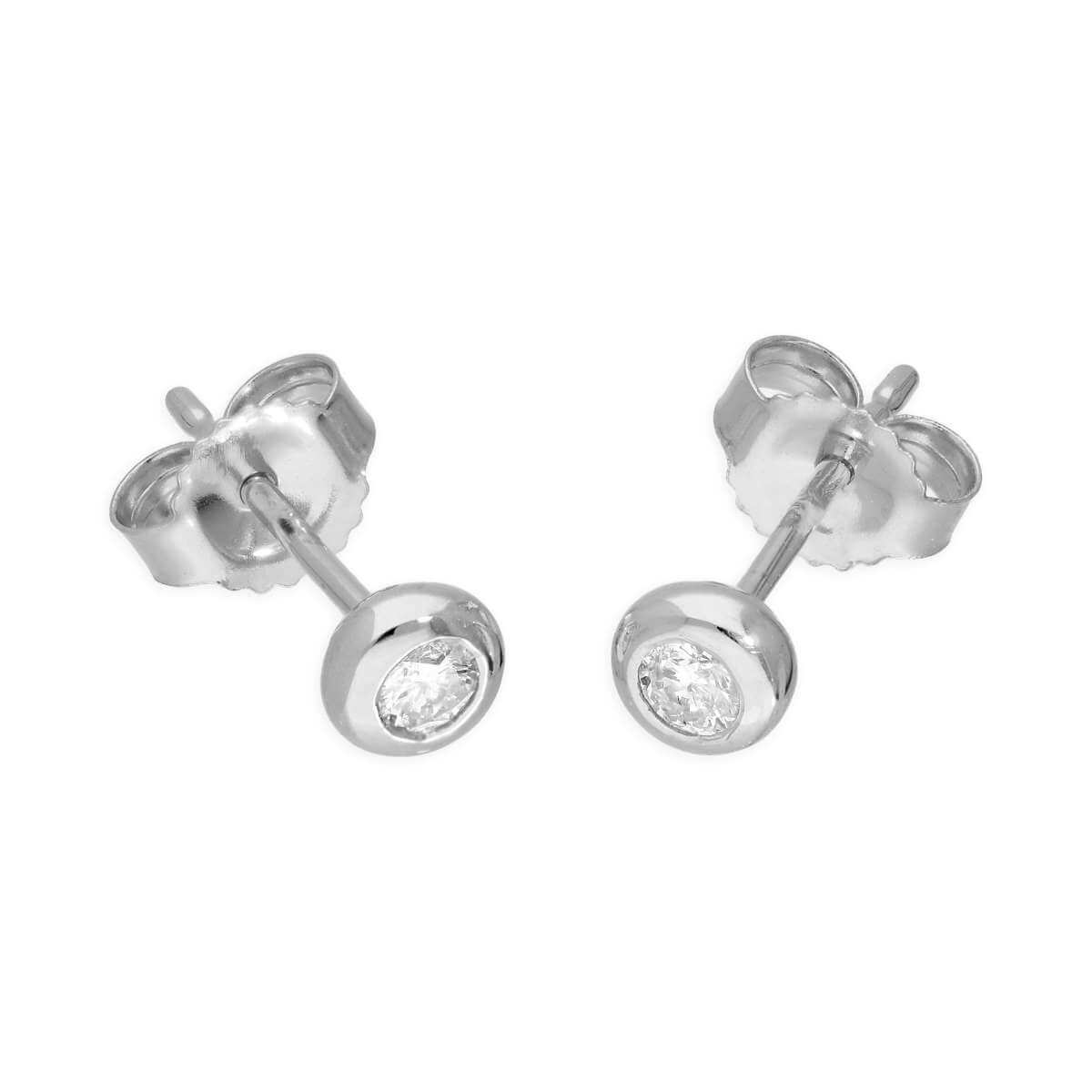 9ct White Gold 0.09ct Diamond Doughnut Round Solitaire Stud Earrings