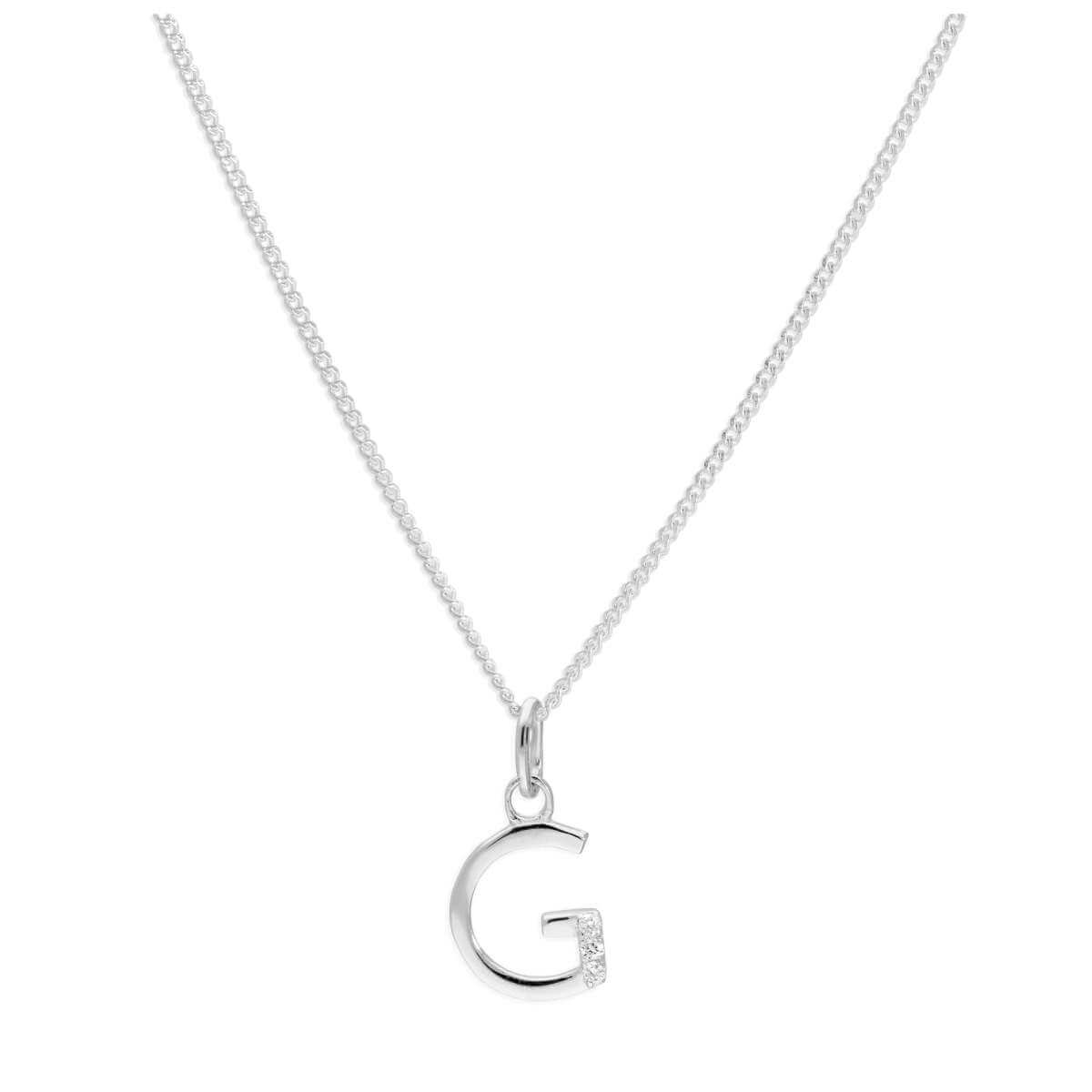 Sterling Silver 3 Stone Geniune Diamond 0.012ct Letter G Necklace Pendant 14 - 32 Inches