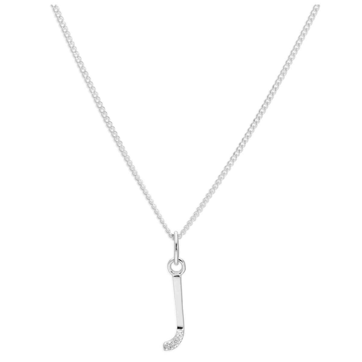 Sterling Silver 3 Stone Geniune Diamond 0.012ct Letter J Necklace Pendant 14 - 32 Inches