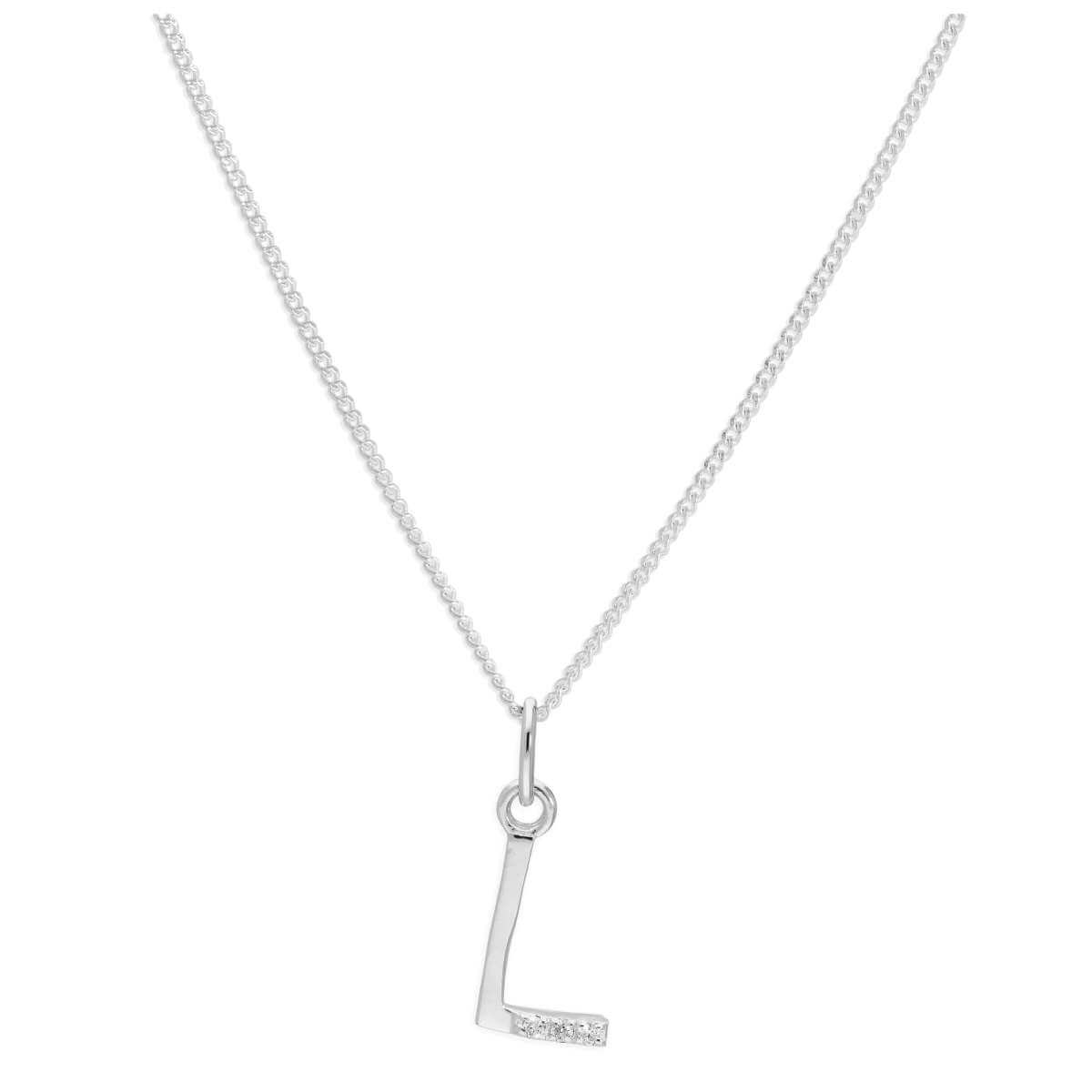 Sterling Silver 3 Stone Geniune Diamond 0.012ct Letter L Necklace Pendant 14 - 32 Inches