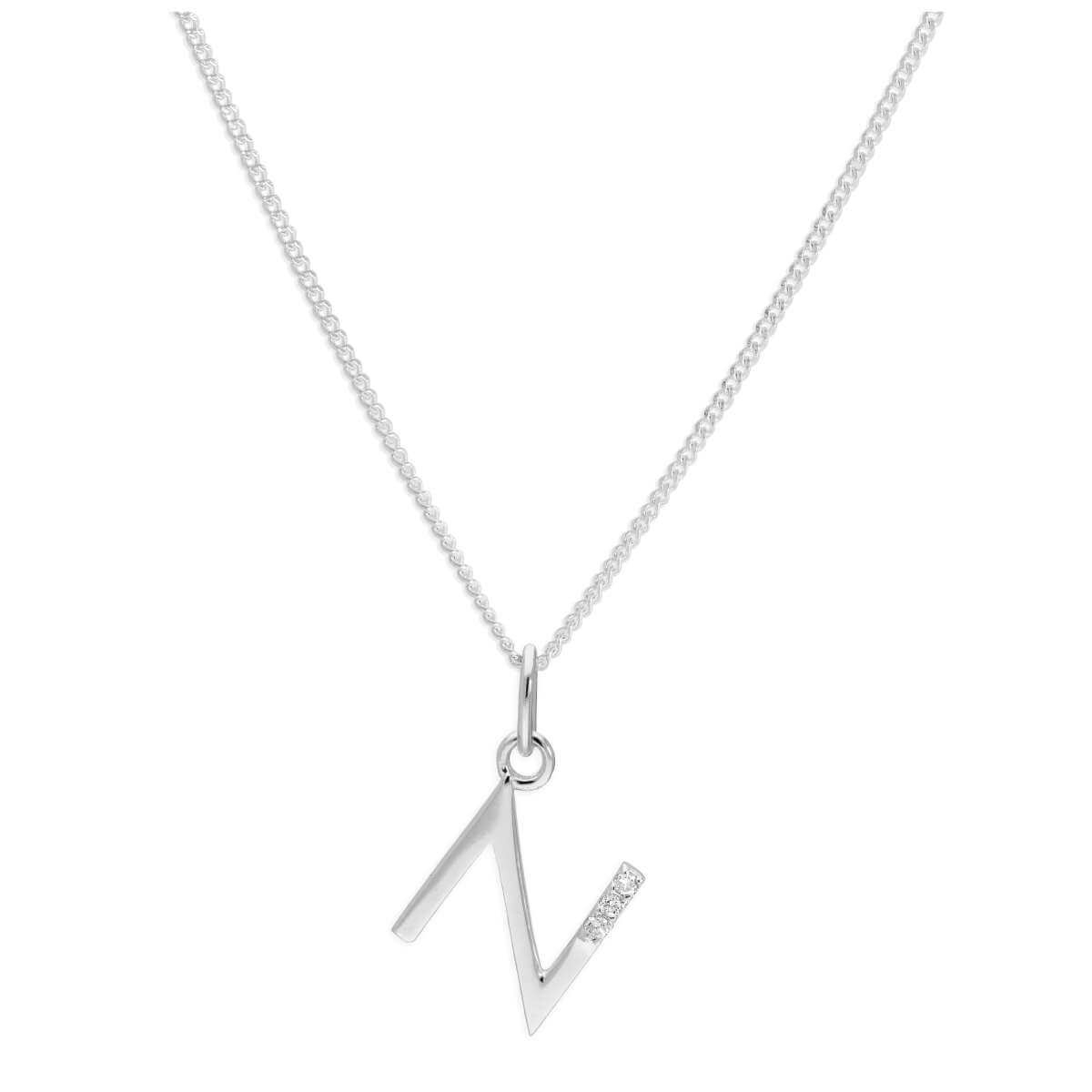 Sterling Silver 3 Stone Geniune Diamond 0.012ct Letter N Necklace Pendant 14 - 32 Inches