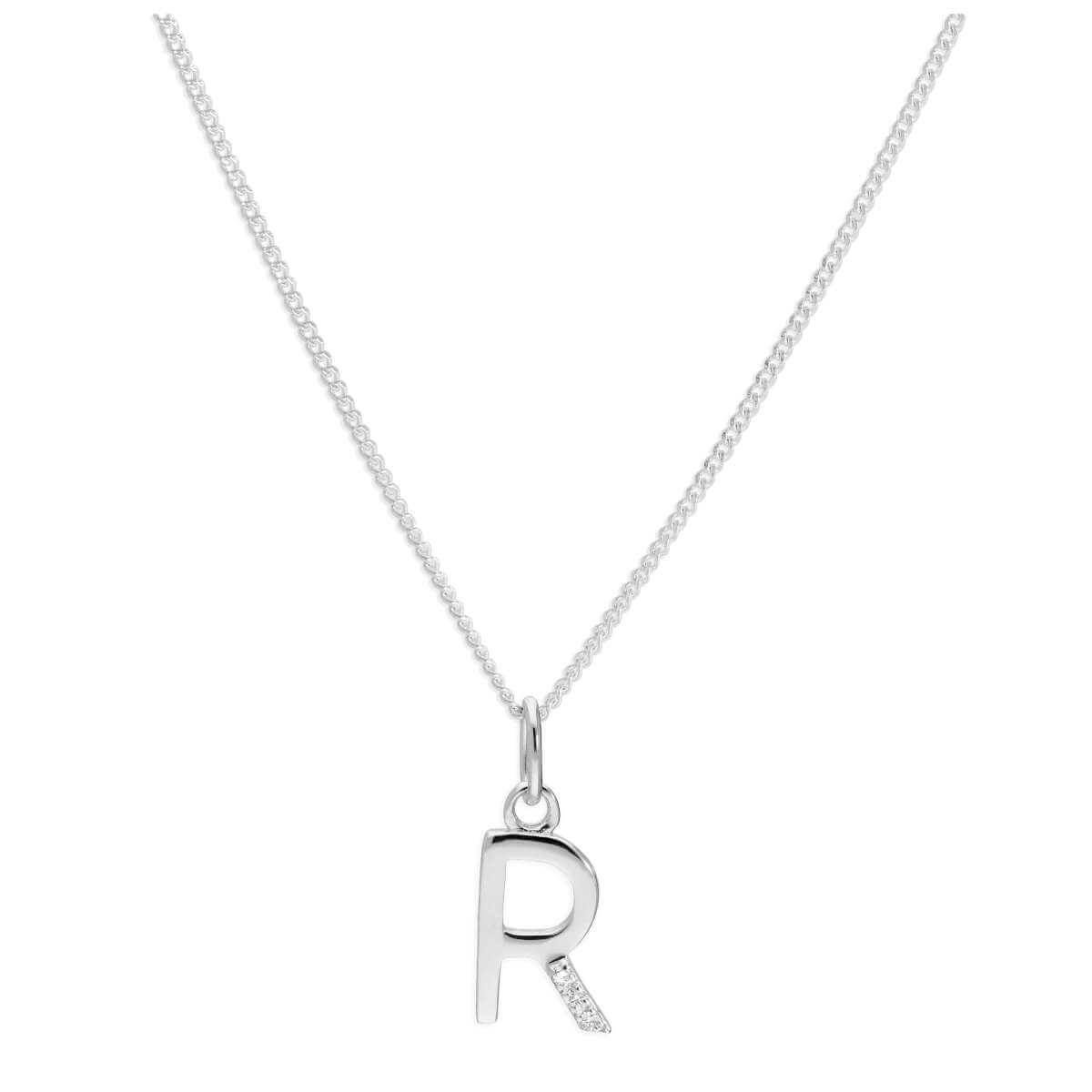 Sterling Silver 3 Stone Geniune Diamond 0.012ct Letter R Necklace Pendant 14 - 32 Inches