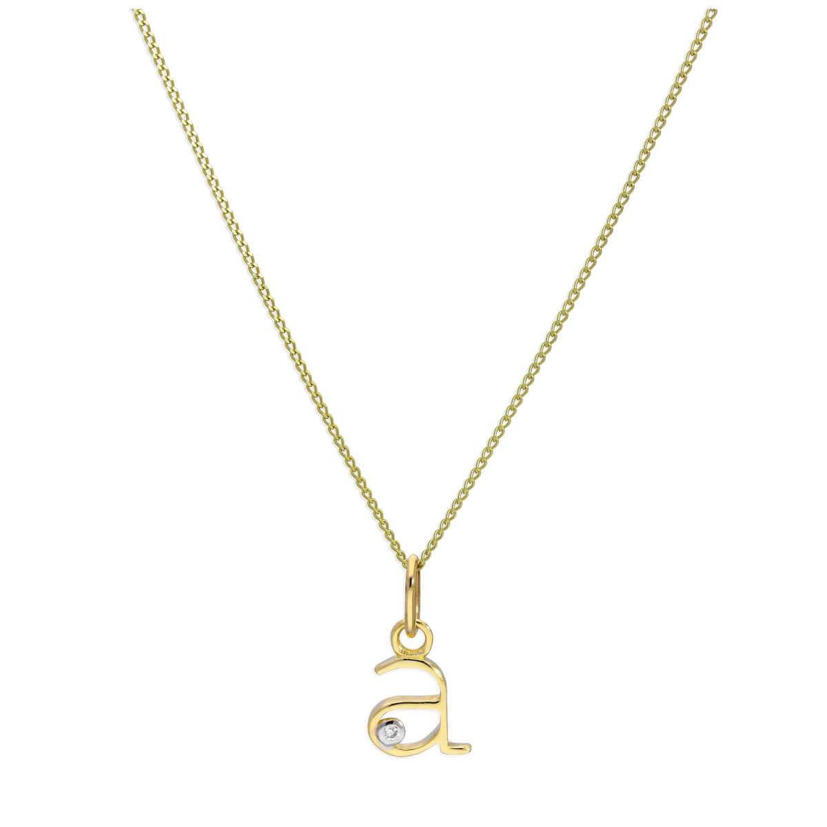9ct Yellow Gold Single Stone Diamond 0.4 points Letter A Necklace Pendant 16 - 20 Inches