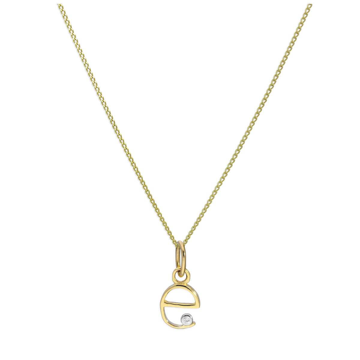 9ct Yellow Gold Single Stone Diamond 0.4 points Letter E Necklace Pendant 16 - 20 Inches